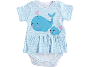 Боди платье 1/9 мес рыбка голубой 321791